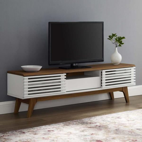 Render 59 in. Walnut and White Particle Board TV Stand with 1 Drawer Fits TVs Up to 59 in. with Storage Doors