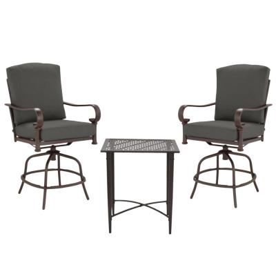 Oak Cliff Brown 3-Piece Steel Outdoor Patio Balcony Height Bistro Set with CushionGuard Graphite Dark Gray Cushions