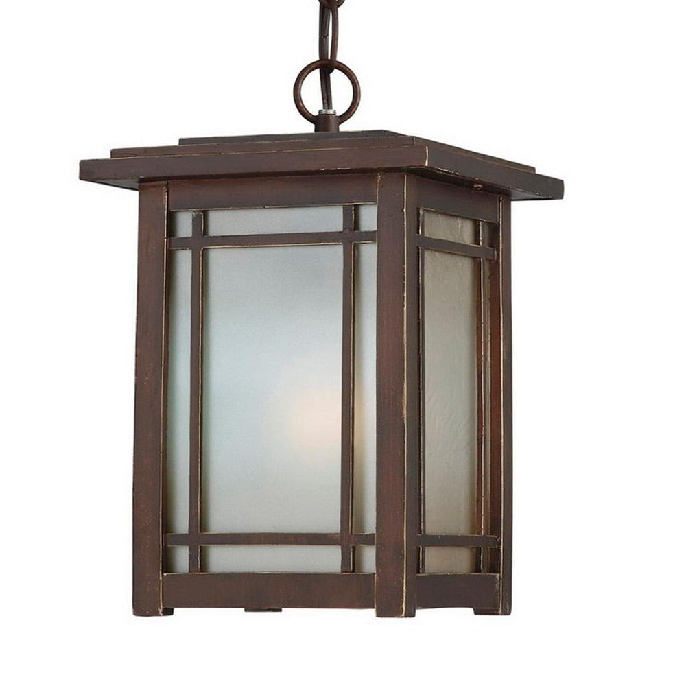 Hampton Bay Port Oxford 1-Light Oil Rubbed Chestnut Outdoor Hanging-Mount Lantern