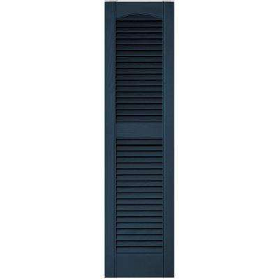 12 in. x 48 in. Louvered Vinyl Exterior Shutters Pair in #036 Classic Blue