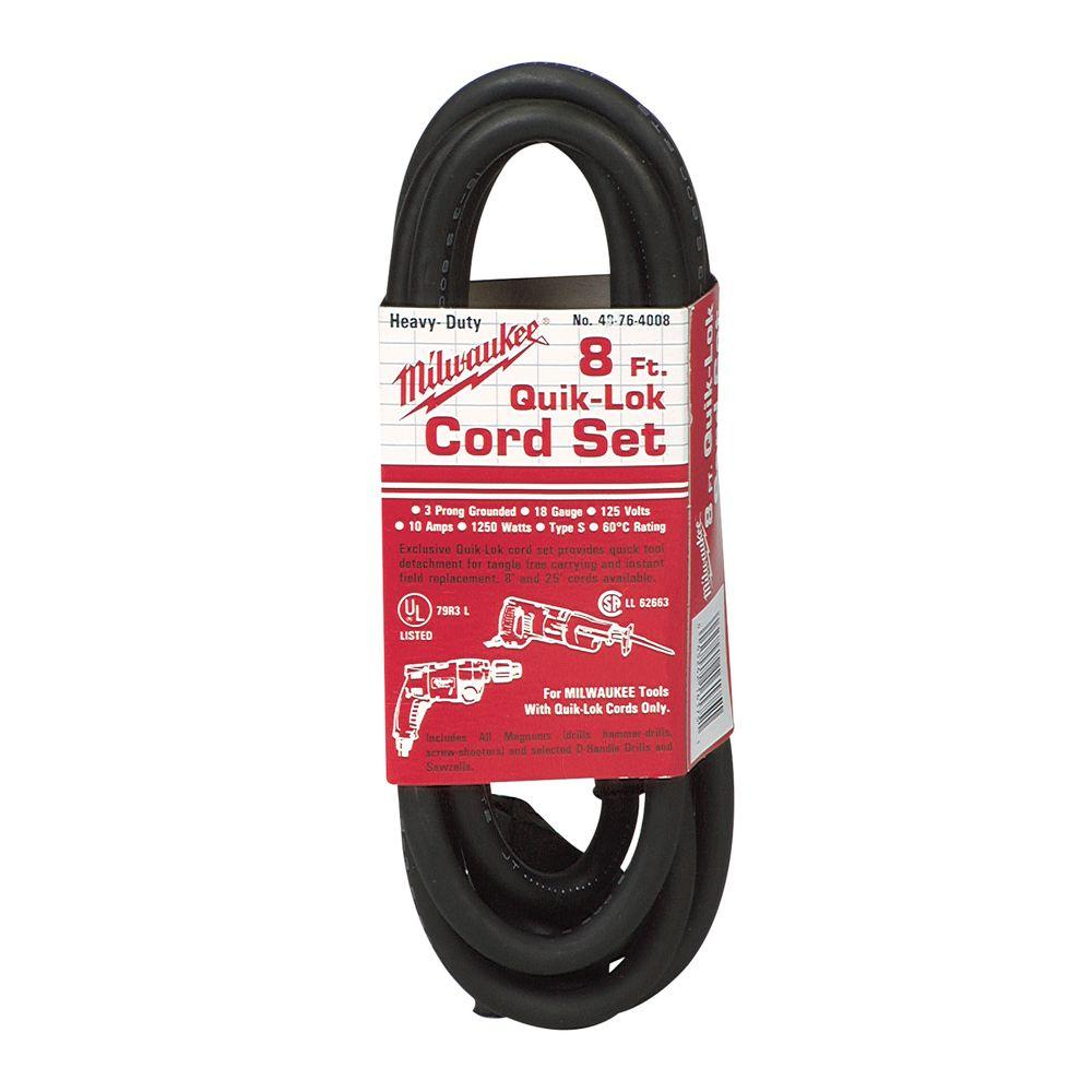Milwaukee 8 ft. Quik-Lok Cord 3 Wire Cord-48-76-4008 - The Home Depot