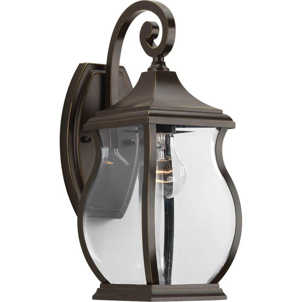 Progress Lighting Township Collection 1 Light Oil Rubbed Bronze 14 75 In Outdoor Wall Lantern Sconce