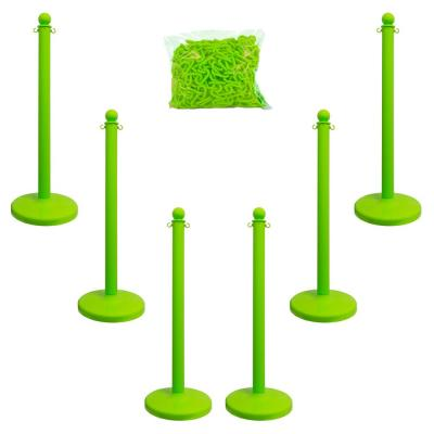 Medium Duty Safety Green Stanchion and Chain Kit