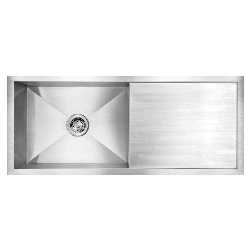 Ordinaire Whitehaus Collection Noahu0027s Collection Brushed Undermount Stainless Steel  39.5 In. 0 Hole Single Bowl
