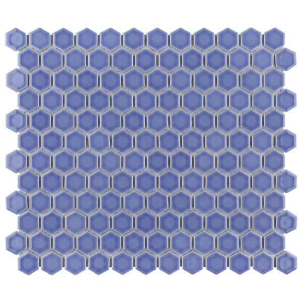 Tribeca 1'' Hex Glossy Periwinkle 11-7/8 in. x 10 in. Porcelain Mosaic Tile (8.65 sq. ft./Case)
