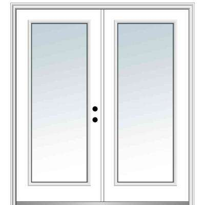 72 in. x 80 in. Classic Left-Hand Inswing Full Lite Clear Glass Painted Steel Prehung Front Door with Brickmould