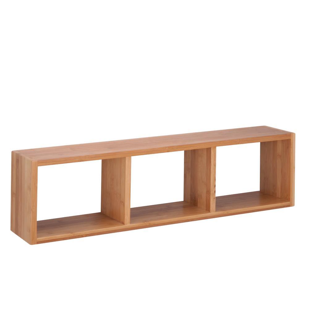 29.92 in. W x 6.3 in. D Triple Cube Wall Shelf in Bamboo, Decorative Shelf