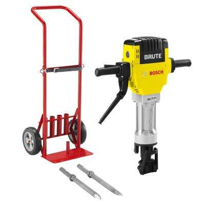 Brute 15 Amp 1-1/8 in. Corded Concrete Portable Electric Hex Breaker Hammer Kit with Cart and 2 Chisels