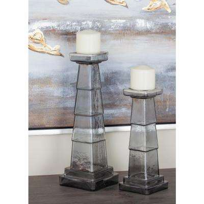 Clear Ribbed Glass Candle Holders (Set of 2)