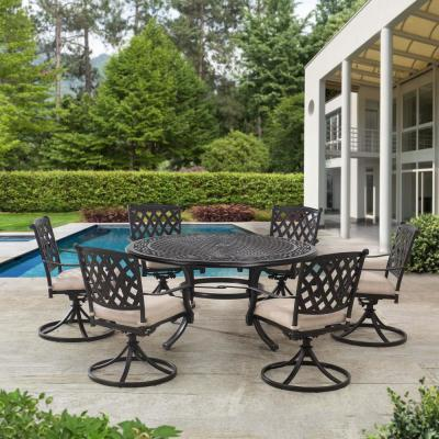 Cahill Black 7-Piece Aluminum Outdoor Dining Set with Beige Seat Cushion