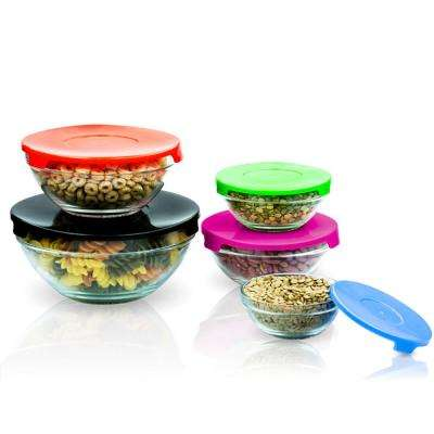 10-Piece Glass Bowls Set with Multicolored Lids