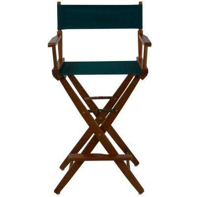 Extra-Wide Mission Oak Frame/Hunter Green Canvas American Hardwood 30 in. Directors Chair
