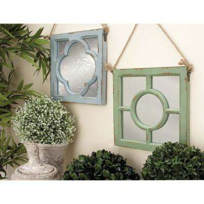 23 in. x 12 in. Rustic Square Wooden Multicolored Wall Mirrors with Overlays (4-Pack)