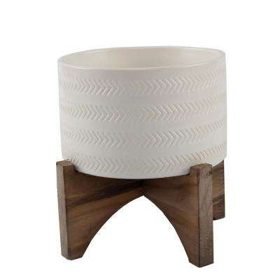 5 in. Matte White Arrow Ceramic Plant Pot on Wood Stand Mid-Century Planter