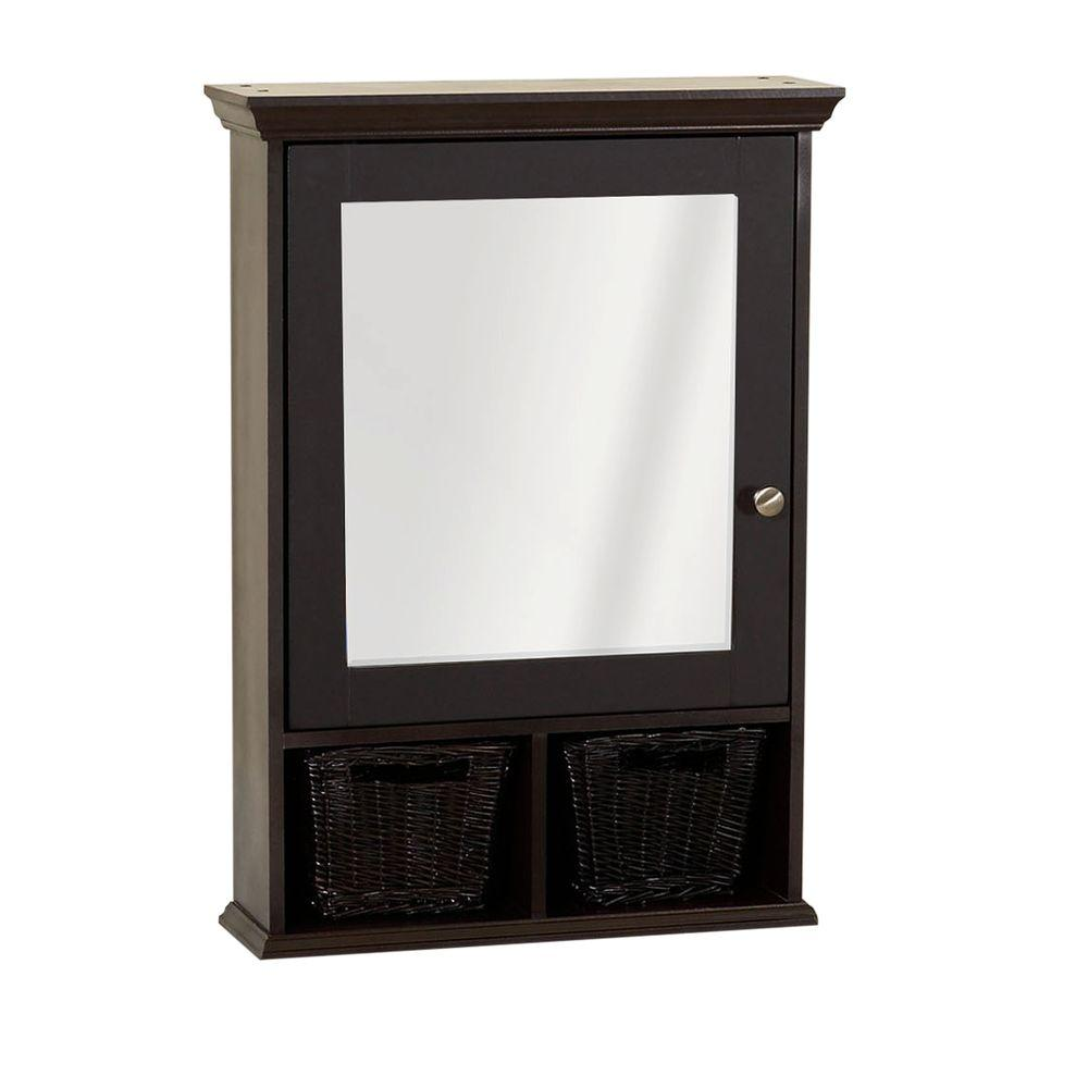 Mirrored Surface Mount Medicine Cabinet With Wicker Baskets In Espresso
