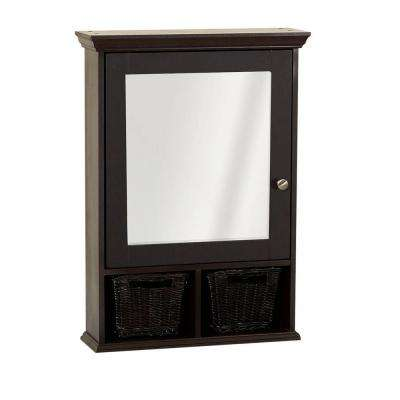 21 in. x 29 in. Mirrored Surface Mount Medicine Cabinet with Wicker Baskets in Espresso
