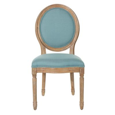Trinity Oval Back Chair in Sea Fabric with Brushed Frame