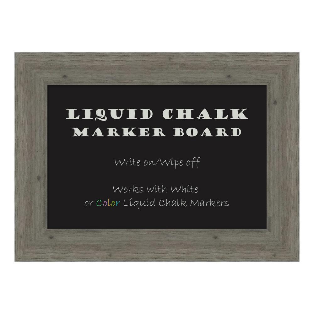 Fencepost Grey Narrow Framed Liquid Chalk Marker Memo Board
