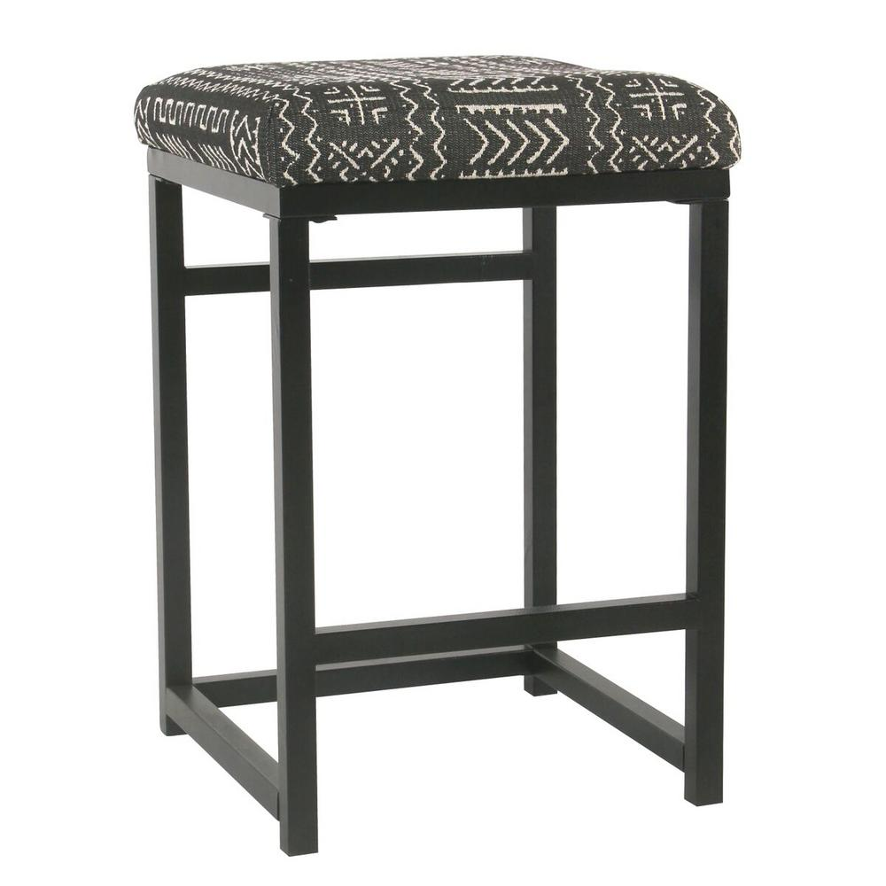 Homepop Open Back 24 In Onyx Bar Stool K7651 24 F2267 The Home Depot