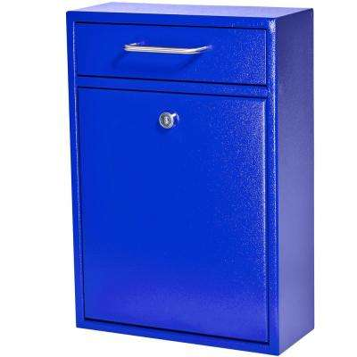 Olympus Locking Wall-Mount Drop Box With High Security Patented Lock, Bright Blue