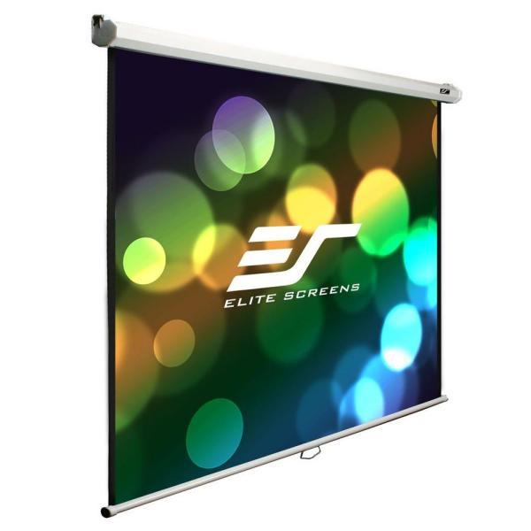 100 in. 60 in. H x 80 in. W Manual Pull-Down Wall and Ceiling Projection Screen with White Case