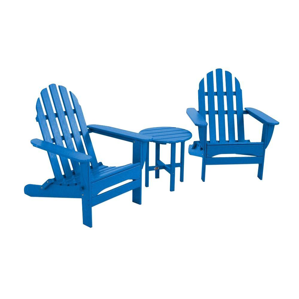 Classic Folding Pacific Blue 3-Piece Adirondack Patio Seating Set