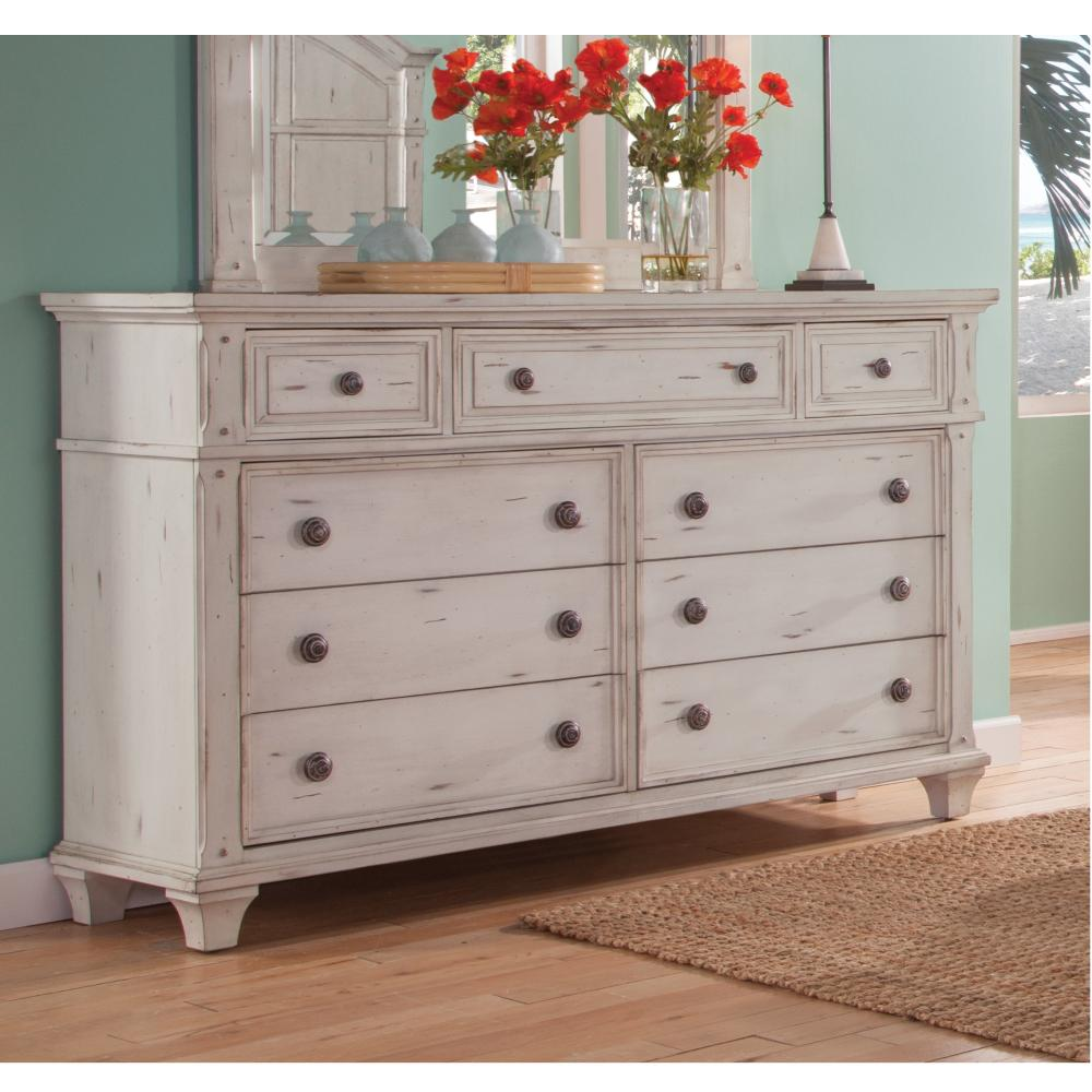 American Woodcrafters Sedona 9 Drawer Antique Cobblestone White Dresser