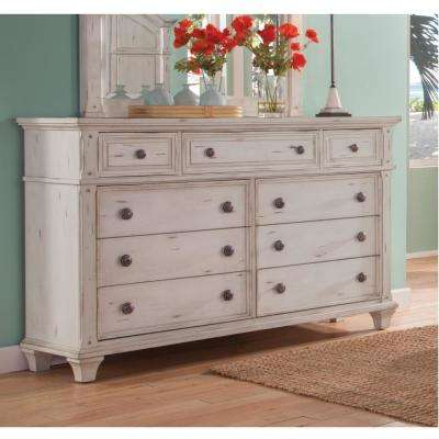 Sedona 9-drawer Antique Cobblestone White Dresser