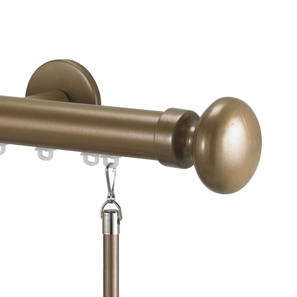 Art Decor Tekno 25 72 in. Non-Adjustable 1-1/8 in. Single Traverse Window Curtain Rod Set in Champagne with Oval Finial