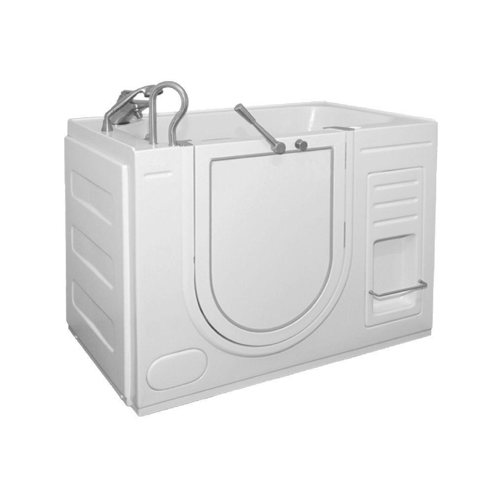 Ella Oasis 4.27 ft. x 26 in. Outward Swing Soaking Walk-In Bathtub in White with Left Drain