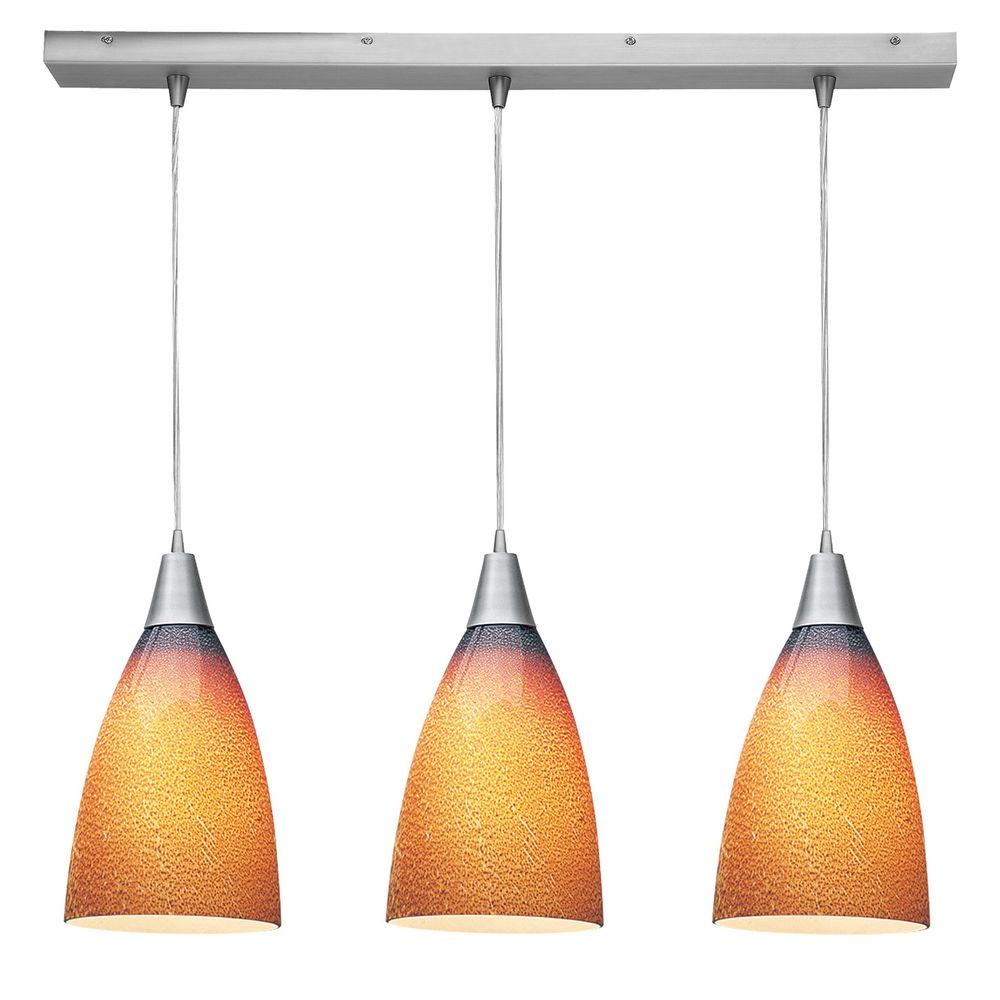 Access Lighting 3-Light Pendant Brushed Steel Finish Silver Amber Glass-DISCONTINUED