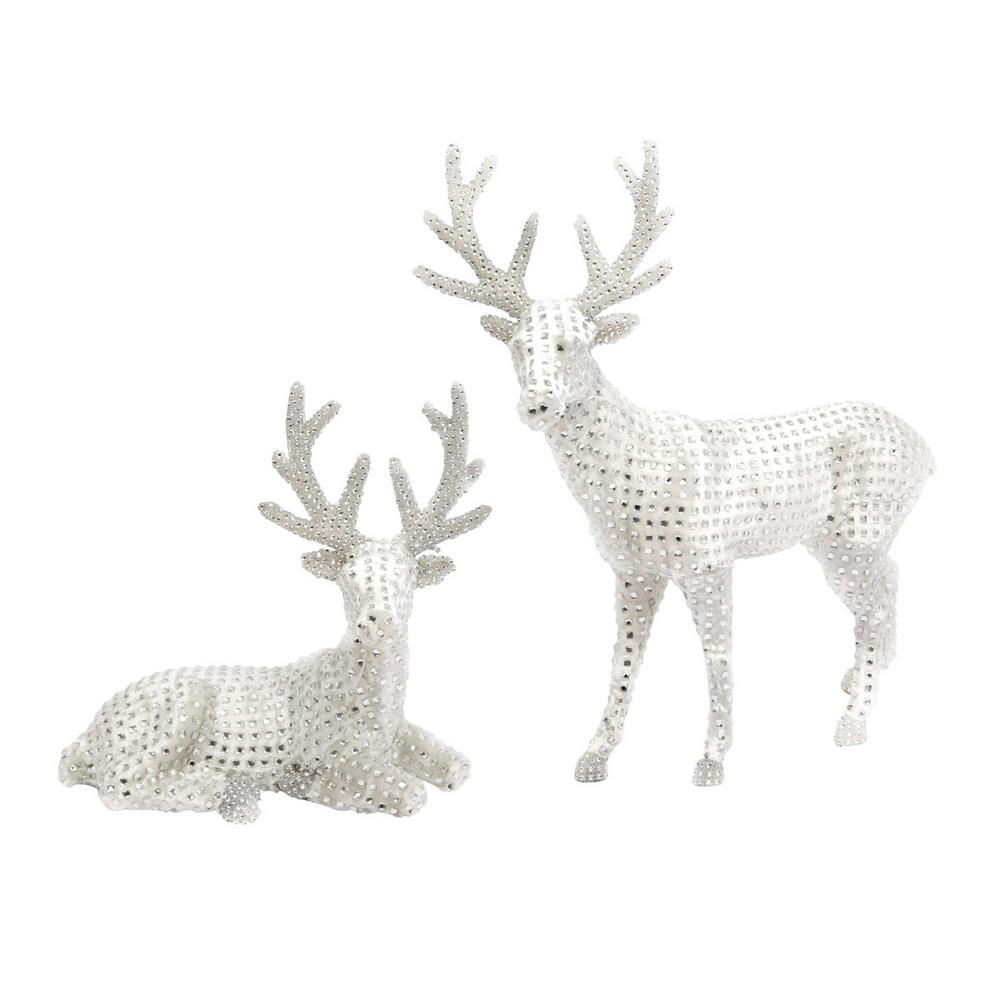 S/2 21.26 in. H White Jeweled Reindeer Figurines
