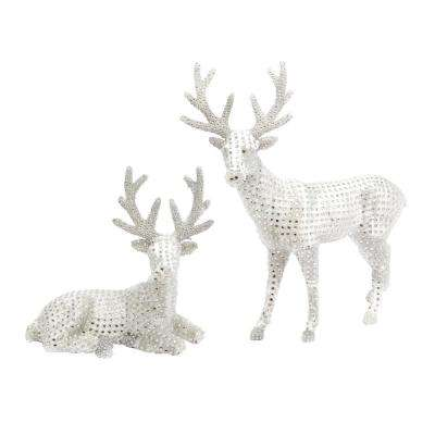 h white jeweled reindeer figurines - Indoor Christmas Reindeer Decorations