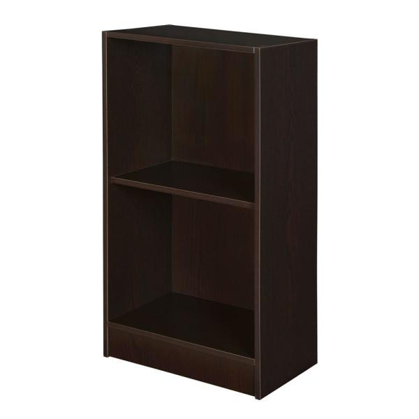 29 in. Truffle Wood 2-shelf Accent Bookcase with Adjustable Shelves