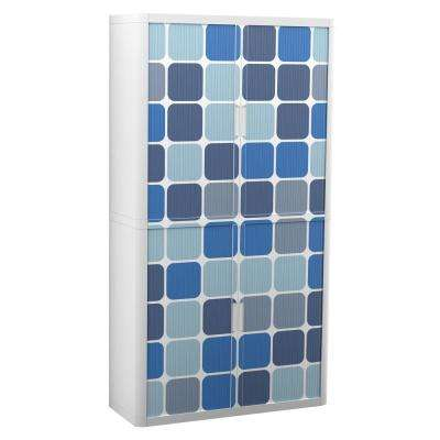 Paperflow easyOffice Storage Cabinet, 80 in. Tall with 4-Shelves, Blue Squares