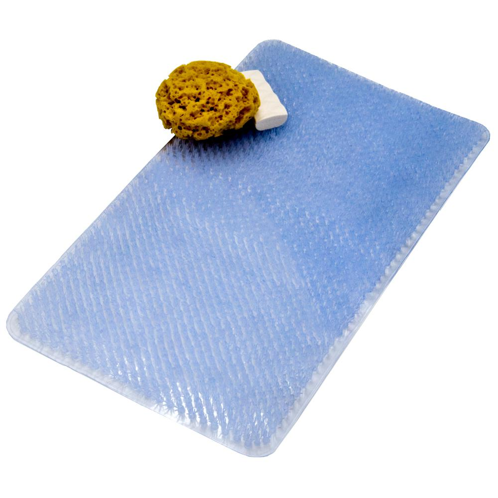14 in. x 26 in. Grassy Bath Mat in Clear