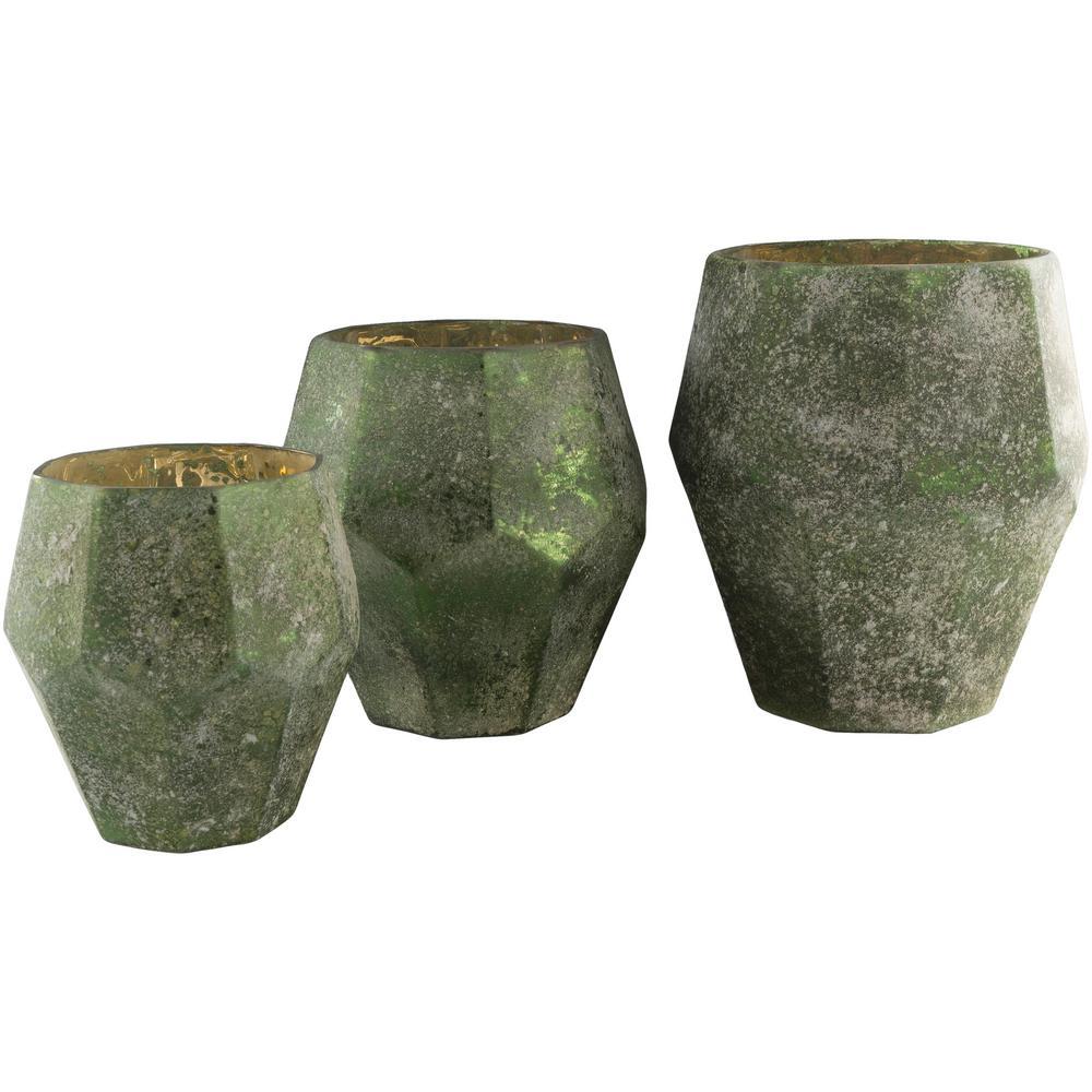 Muig Green Glass 3-Piece Candle Holder Set