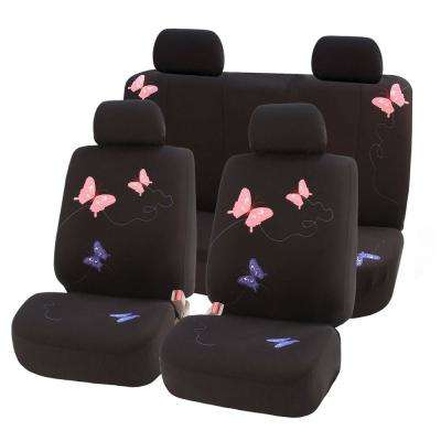 Flat Cloth 21 in. x 21 in. x 2 in. Full Set Butterfly Embroidery Seat Covers