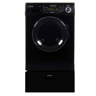1.57 cu. ft. 23.5 in. High -Efficiency Vented/Ventless Electric All-in-One Washer Dryer Combo with Pedestal in Black