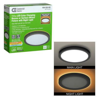 7.5 in. Matte Black Selectable LED Flush Mount Round Flat Panel with Night Light Feature 800 Lumens 3 Mount Options