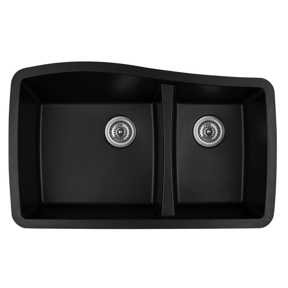 Karran Undermount Quartz Composite 33 In. 60/40 Double Bowl Kitchen Sink In  Black
