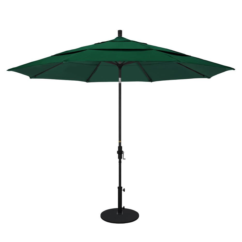 11 ft. Black Aluminum Pole Market Aluminum Ribs Crank Lift Outdoor Patio Umbrella in Forest Green Sunbrella
