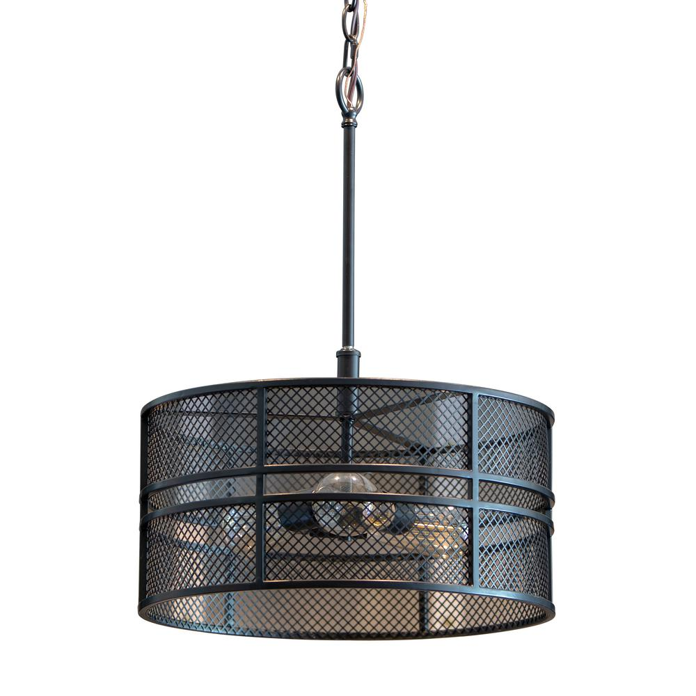 Decor Therapy Rixon 3-Light Black Mesh Shade Pendant