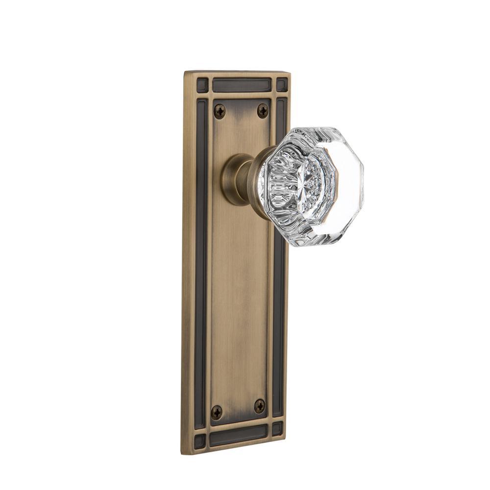 Mission Plate 2-3/4 in. Backset Antique Brass Privacy Waldorf Door Knob
