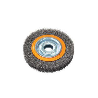 7 in. Bench Wheel Brush with Crimped Wires 5/8 in. to 1-1/4 in. Arbor