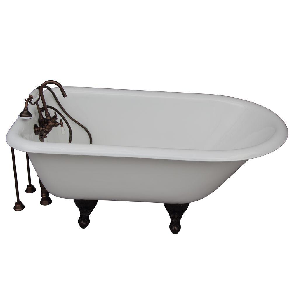 Barclay Products 4.5 ft. Cast Iron Ball and Claw Feet Roll Top Tub ...