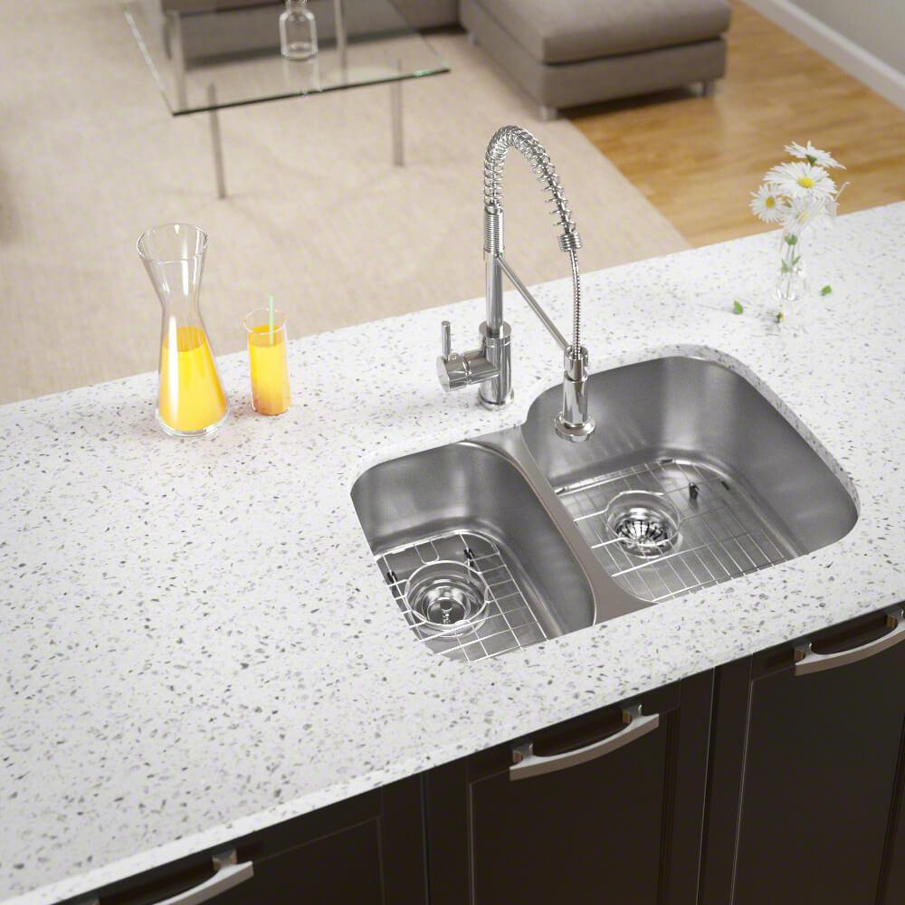 MR Direct All-in-One Undermount Stainless Steel 29 in. Right Double Bowl  Kitchen Sink