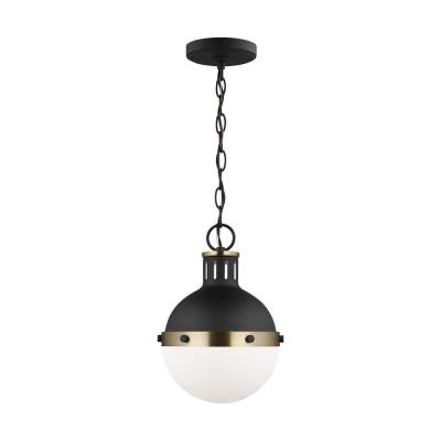 Hanks 1-Light Midnight Black Mini Pendant with Smooth White Glass Shade