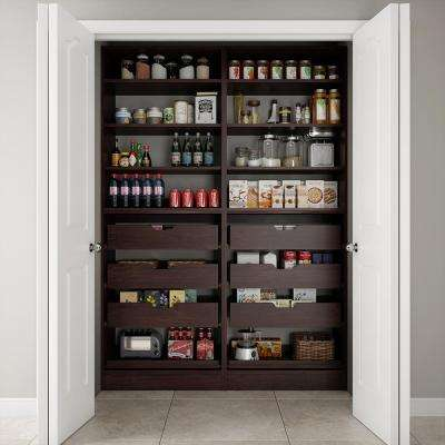 60 in. W x 15 in. D x 84 in. H Dual Wood Pantry Combination Organizer Kit with Roll-Outs in Mocha