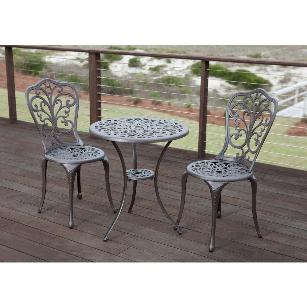 High Quality Patio Sense Faustina Bronze 3 Piece Cast Aluminum Patio Bistro Set